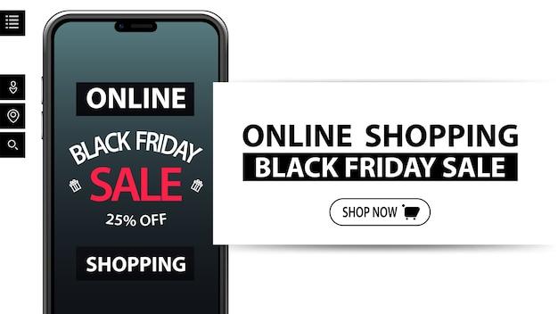 Compras online, black friday sale, até 25% de desconto, banner branco de desconto com smartphone e oferta na tela. banner de desconto para seu site