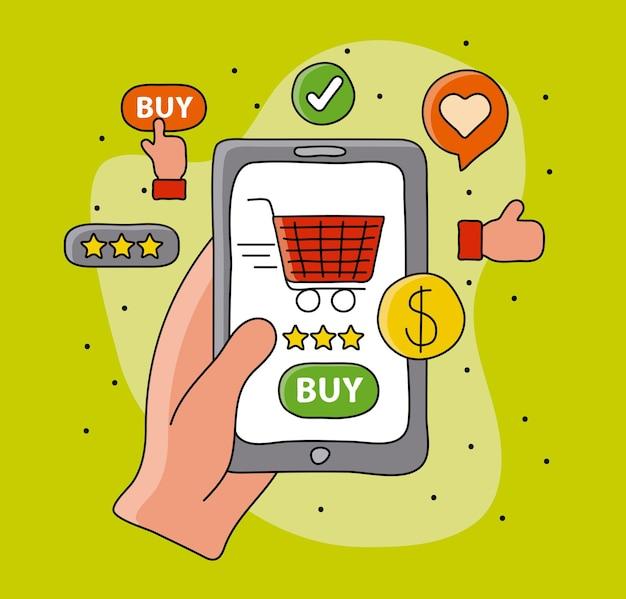Compras online com a mão do comprador e o carrinho na ilustração do smartphone