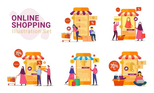 Compras online com conjunto de ilustração de dispositivo móvel