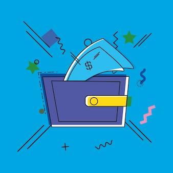 Compras online com estilo de arte pop de carteira