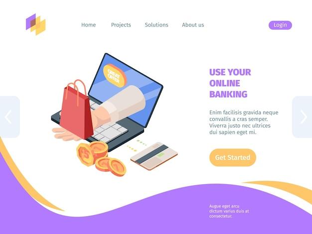 Compras online com homepage isométrica de banco.