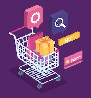 Compras online com ícones