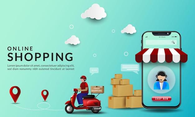 Compras online com ilustrações sobre entrega de mercadorias em motocicleta