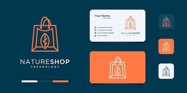 Compras online com modelo de design de logotipo da natureza