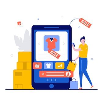 Compras online, conceito de e-commerce com personagem.