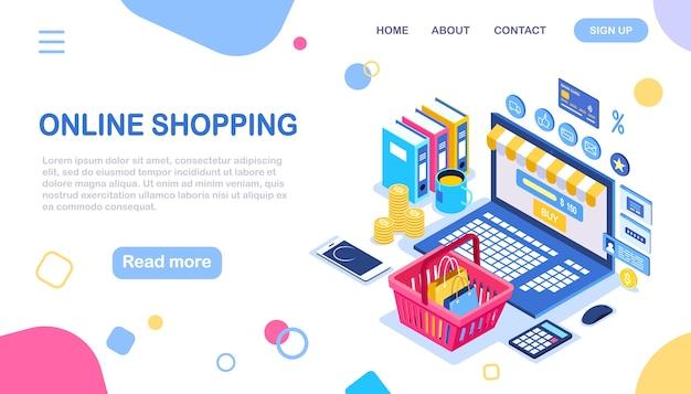 Compras online, conceito de venda. compre na loja de varejo pela internet. computador isométrico, cesta, dinheiro