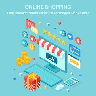 Compras online, conceito de venda. compre na loja de varejo pela internet. computador isométrico, laptop com dinheiro, cartão de crédito, avaliação do cliente, feedback, caixa de presente, surpresa. para web banner