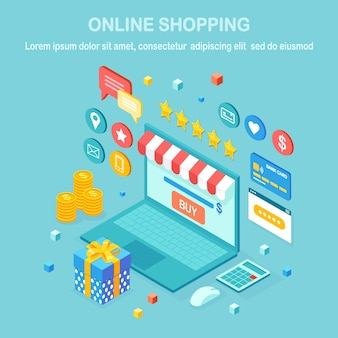 Compras online, conceito de venda. compre na loja de varejo pela internet. computador isométrico, laptop com dinheiro, cartão de crédito, avaliação do cliente, feedback, caixa de presente, surpresa.