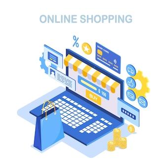 Compras online, conceito de venda. compre na loja de varejo pela internet. laptop isométrico com bolsa, dinheiro, cartão de crédito, avaliação do cliente.