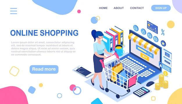 Compras online, conceito de venda. compre na loja de varejo pela internet. mulher isométrica 3d com carrinho, bolsa, computador, dinheiro, cartão de crédito, telefone, avaliação do cliente.