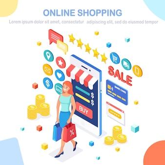 Compras online, conceito de venda. compre na loja de varejo pela internet. mulher isométrica com bolsa, telefone, dinheiro, cartão de crédito