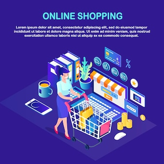 Compras online, conceito de venda. compre na loja de varejo pela internet. mulher isométrica com carrinho, bolsa, computador, dinheiro, cartão de crédito, telefone, avaliação do cliente