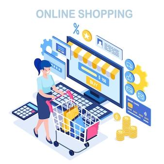Compras online, conceito de venda. compre na loja de varejo pela internet. mulher isométrica com carrinho, carrinho, bolsa, computador, dinheiro, cartão de crédito, calculadora.