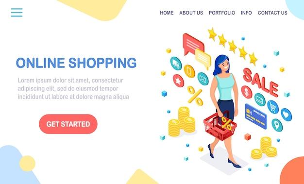 Compras online, conceito de venda. compre na loja de varejo pela internet. mulher isométrica com cesta, dinheiro, cartão de crédito, estrela de feedback de avaliação do cliente