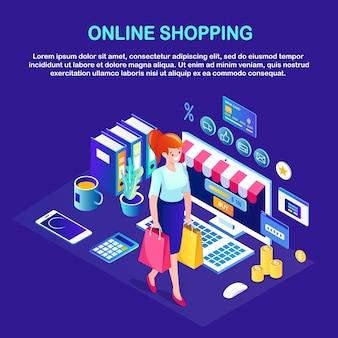 Compras online, conceito de venda. compre na loja de varejo pela internet. mulher isométrica com pacote, bolsa, computador, dinheiro, cartão de crédito, telefone.