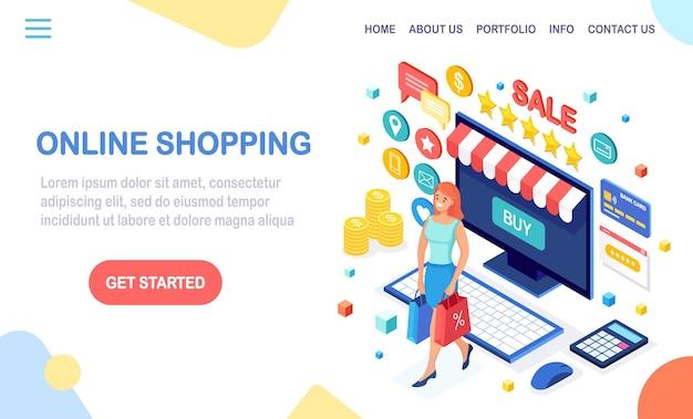 Compras online, conceito de venda. compre na loja de varejo pela internet.