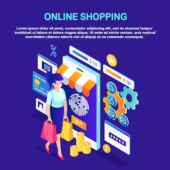 Compras online, conceito de venda. mulher isométrica com bolsa, telefone celular, dinheiro, cartão de crédito, avaliações de clientes