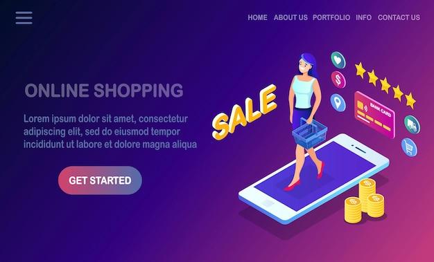 Compras online, conceito de venda.