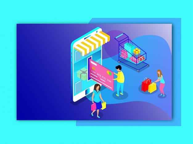 Compras online do usuário e pagamento por loja móvel