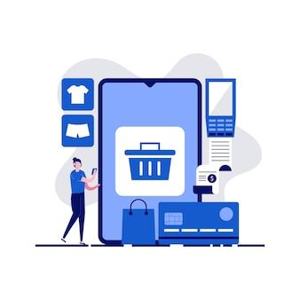 Compras online, e-commerce, loja online, conceitos de comércio distante com personagem. transfira dinheiro do cartão de crédito.
