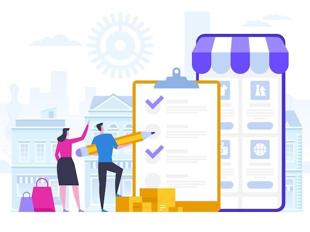 Compras online e entrega de compras. vendas de comércio eletrônico, marketing digital.