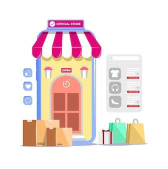 Compras online em aplicativos móveis ou ilustração de sites