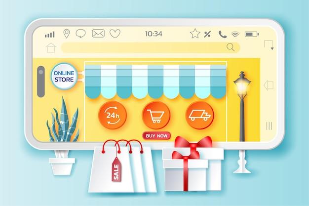 Compras online em aplicativos móveis ou sites em estilo de papel