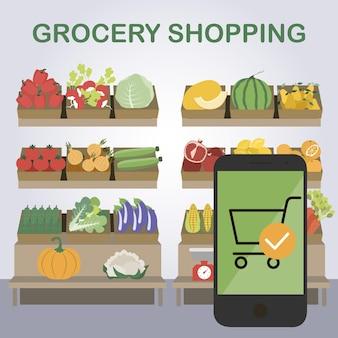 Compras online em uma mercearia entrega de frutas e vegetais ilustração vetorial