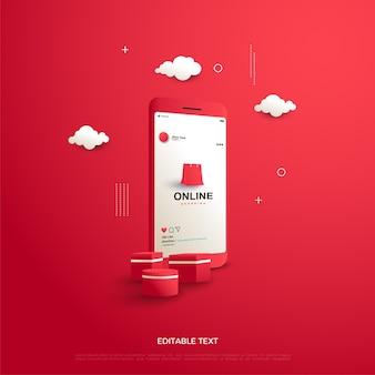 Compras online em vermelho com uma ilustração de uma sacola de compras e uma caixa de presente