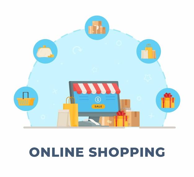Compras online. ilustração de compras e vendas online. pedidos de produtos off-line.