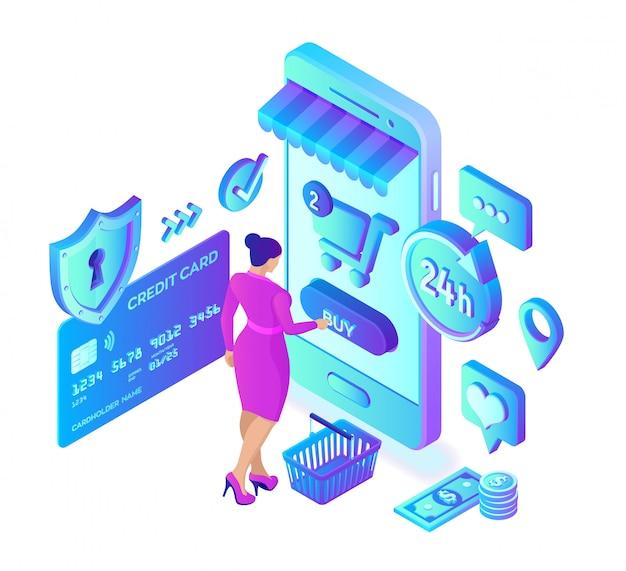 Compras online. loja on-line isométrica 3d. personagem de cliente mulher compras on-line no site ou aplicativo móvel.