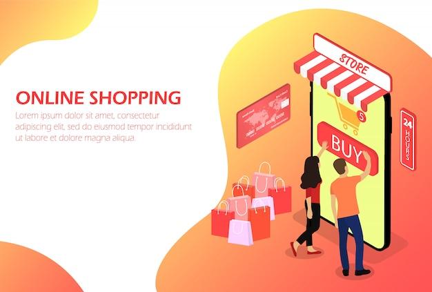 Compras online. loja online. pessoas. isométrico
