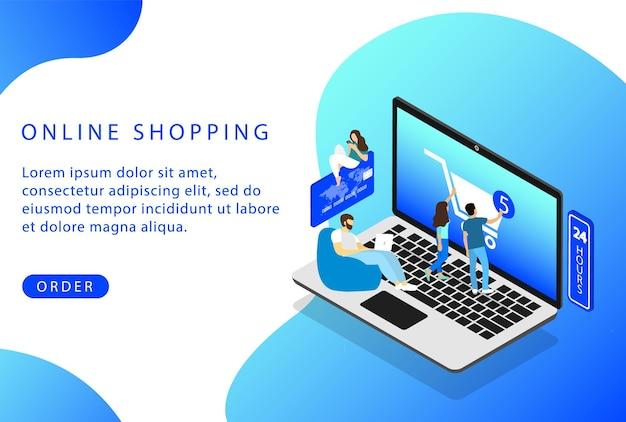 Compras online. lojas online. isométrico. página de destino para sites da web.