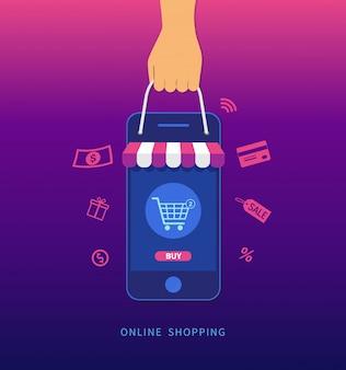 Compras online. mão segurando o smartphone e a sacola de compras.