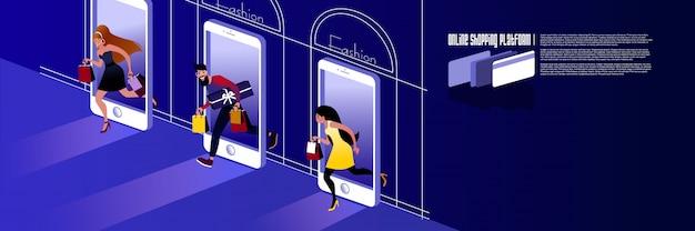 Compras online. maquete para loja de internet da página de destino ou layout do banner de publicidade