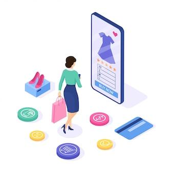 Compras online . mulher comprar vestido no site. pode usar infográficos e banner da web. isométrico ilustração.