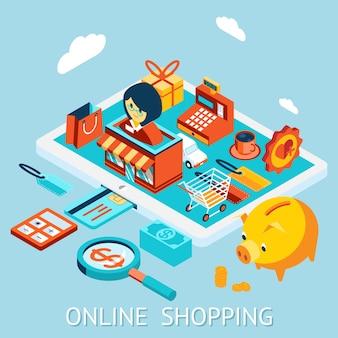 Compras online no computador tablet. pedido, venda, recebimento de fundos e entrega.