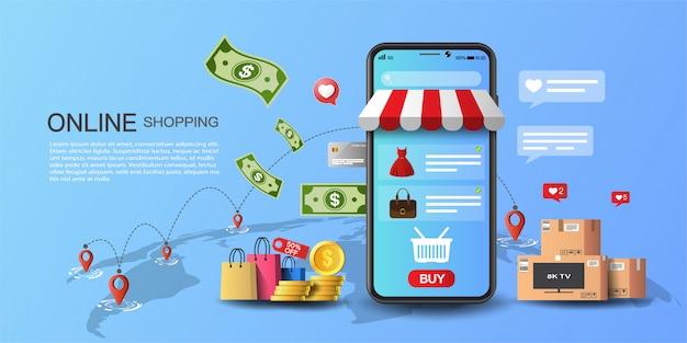 Compras online no conceito de aplicativo e site, marketing digital e dinheiro online.