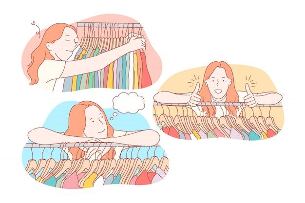 Compras, roupas, coleção, conceito definido de venda