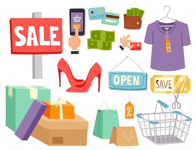 Compras, supermercado, loja, loja, mantimento, retro, caricatura, ícones, jogo, com, clientes, carrinhos, cestas, comida, e, comércio, produtos, ilustração