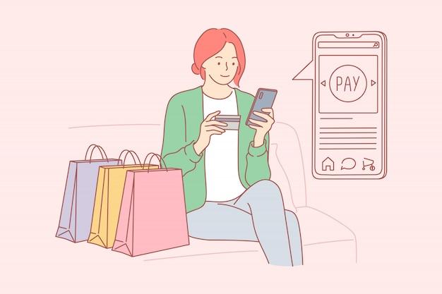 Compras, tecnologia, on-line, quarentena, conceito do negócio