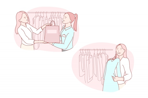 Compras, varejo, consumidor, moda, ilustração de serviço