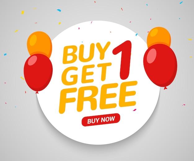 Compre 1 e ganhe 1 pôster de venda grátis modelo de design de banner para marketing