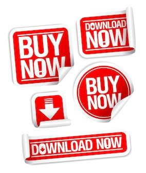 Compre agora baixe agora coleção de adesivos de vetor