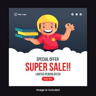 Compre agora oferta especial design de banner de super venda com entregador com caixas de pizza