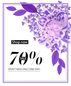 Compre agora, venda de setenta por cento, não perca apenas um dia flyer com flor, lilás e moldura
