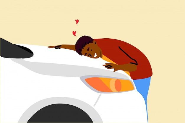 Compre, carro, amor, abraço, conceito de seguro