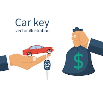 Compre carro, conceito de aluguel.