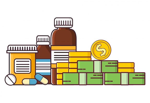 Compre comprimidos e frascos de remédios, dinheiro e moedas.