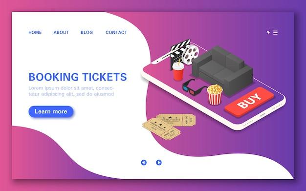 Compre e reserve ingressos para assistir a um filme usando um aplicativo móvel.